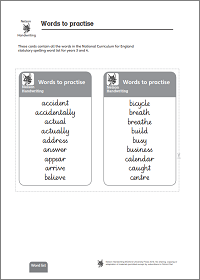 Practise cards (ages 7 – 9)