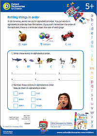 Putting things in order activity sheet