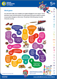 Word game activity sheet