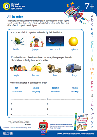 All in order activity sheet