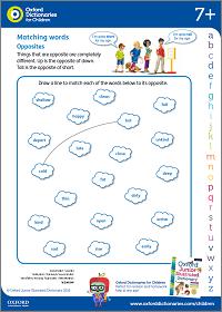 Opposites activity sheet