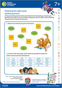 Spotting synonyms activity sheet
